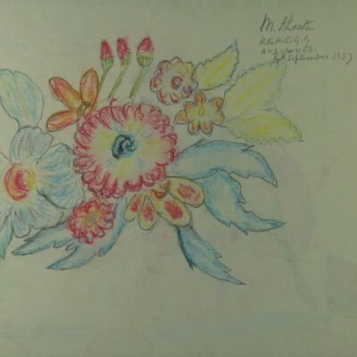 LDBTH:392v - Flowers in Red, Blue and Yellow