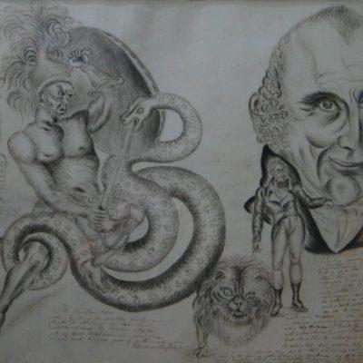 LDBTH:755r - The Lambton Worm and Self Portrait