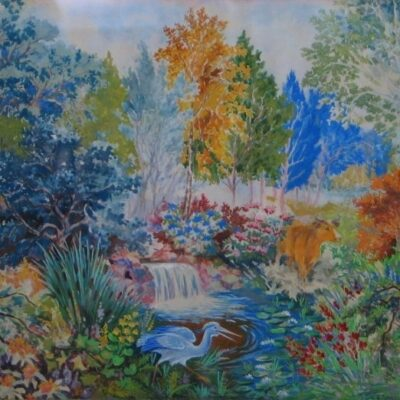 LDBTH:170 - Woodland Scene with Cow and Heron