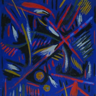 LDBTH:191 - Mescaline Painting - Blue and Red Abstract
