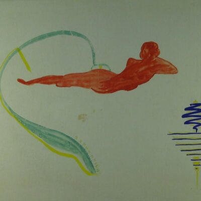 LDBTH:192 - Mescaline Painting - Reclining Red Figure