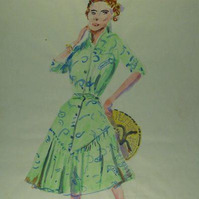 LDBTH:320 - Fashion Model in Green Dress