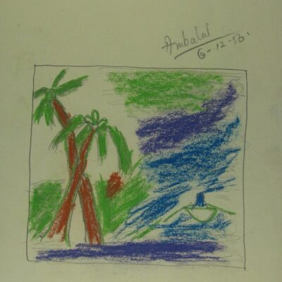 Palm Trees and Boat artwork by  Ambalal