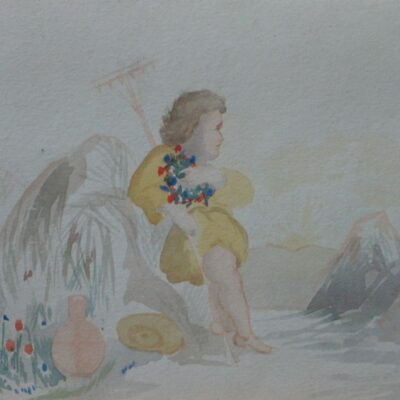 Child with Rake and Flowers