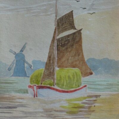 LDBTH:457 - Sailing Boat and Windmill