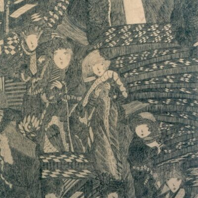 Women and Chequered Staircase artwork by Madge Gill