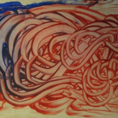 Mescaline Painting - Red and Blue Finger-Painting artwork by Herbrand Williams