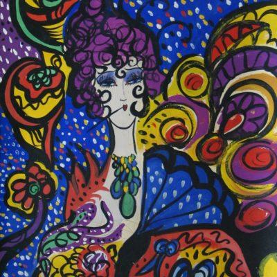 LDBTH:850 - Woman with Blue Fan