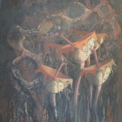 LDBTH:961 - Botanical Abstract II (Trumpet Mushrooms)